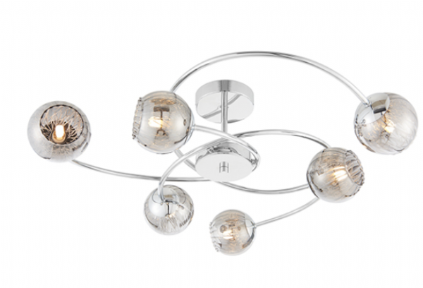 Aerith Smoked Glass 6 Light Semi Flush 28w